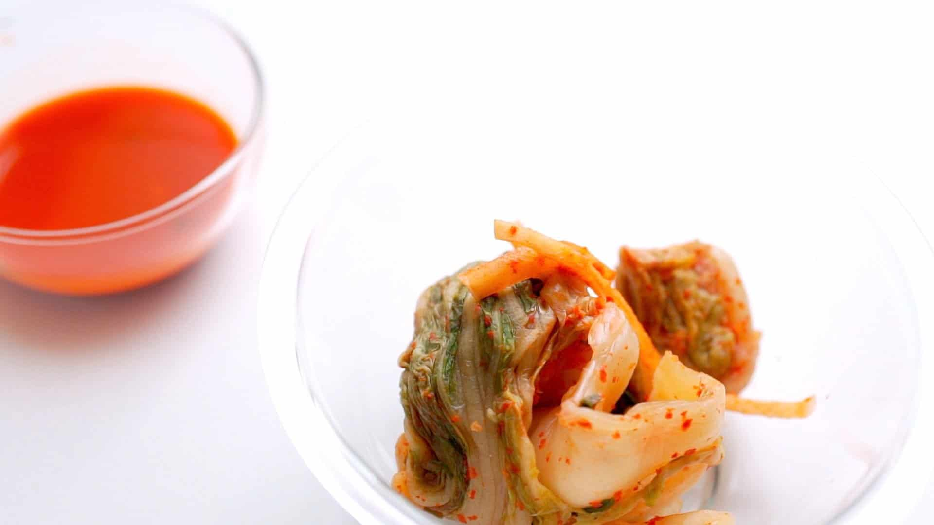 Kimchi and kimchi juice separated for making kimchi fried rice.