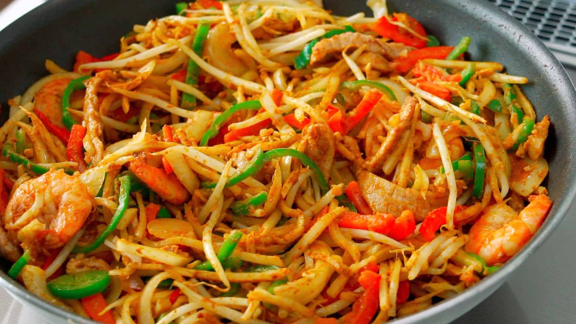 Curry powder added to Singapore Noodles.