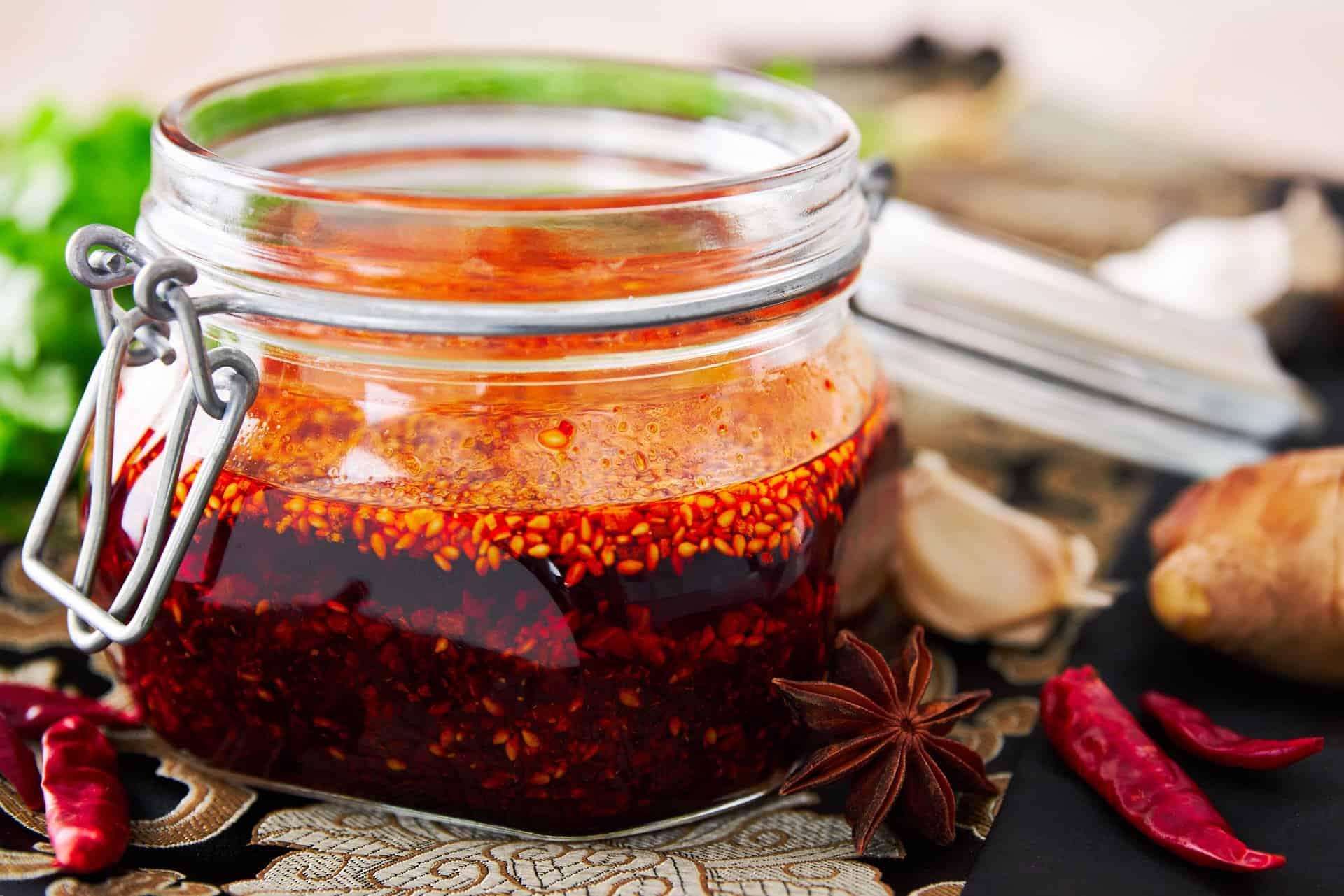 With crispy, garlic, sesame seeds and chili flakes, this delicious Chinese chili oil is a delightful condiment that's good on everything from hashbrowns to noodle soup.
