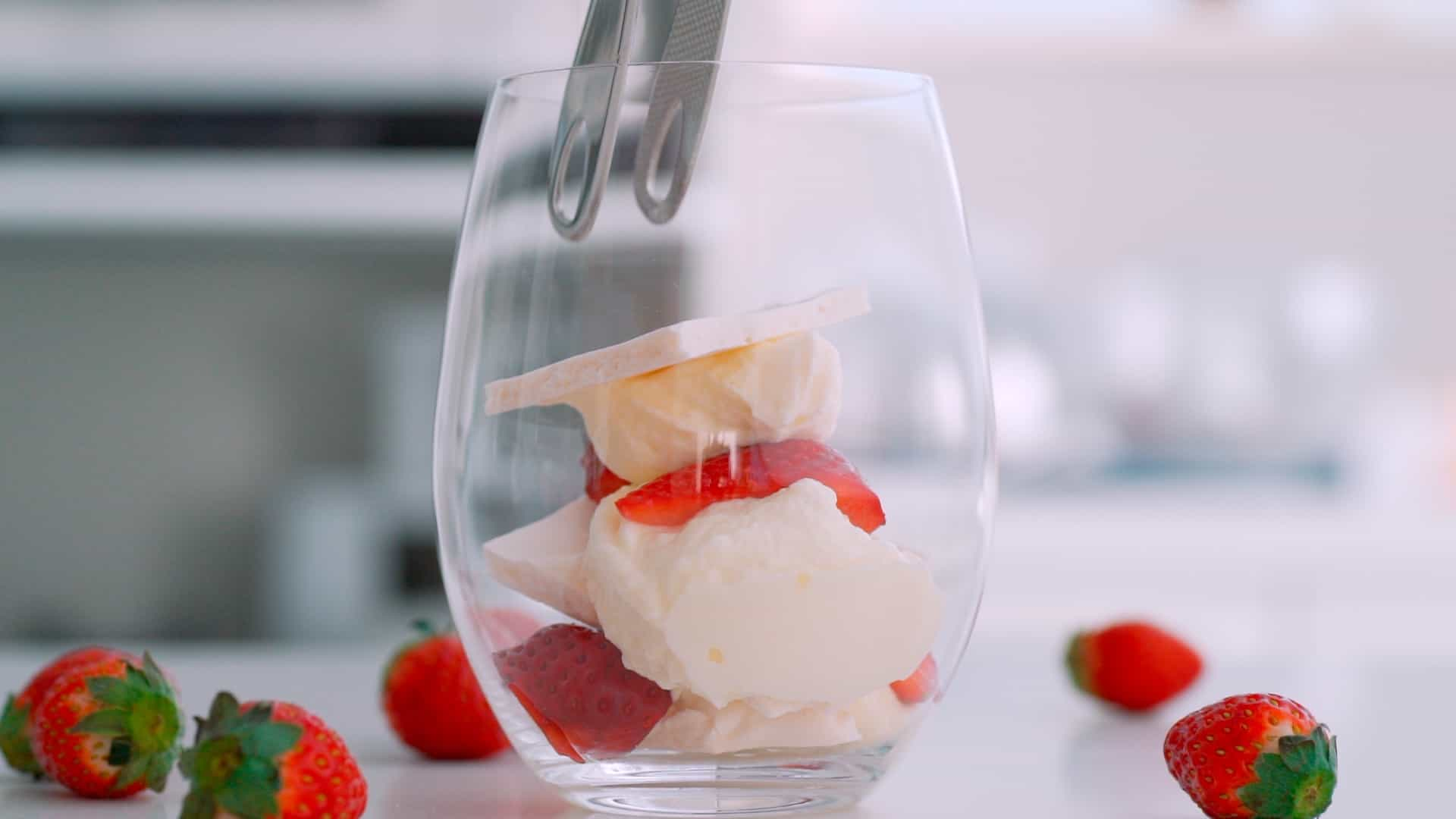 Plating an Eton Mess in a glass.