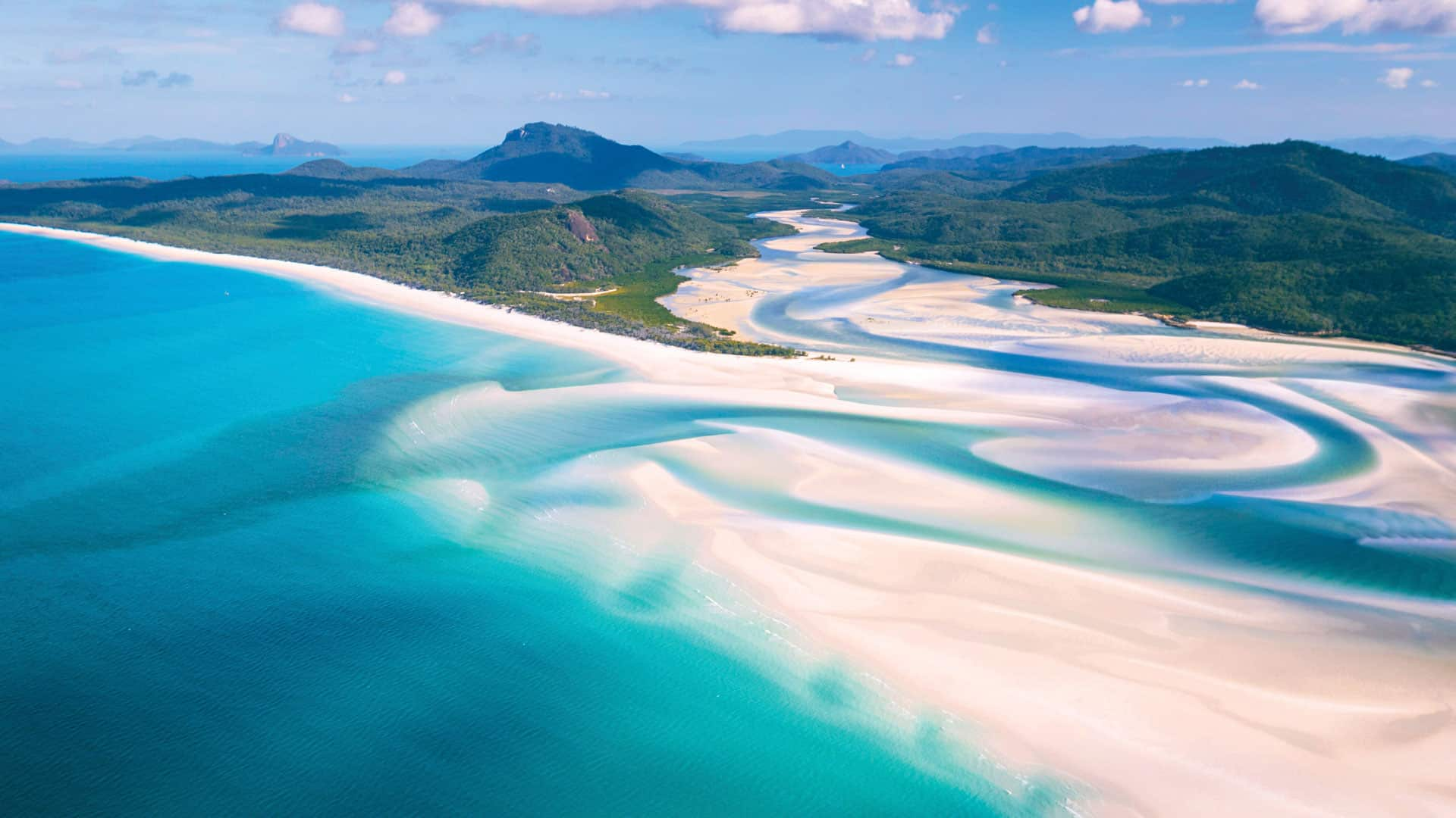aerial of Hill Inlet and Whitehaven Beach on Whitsunday Island