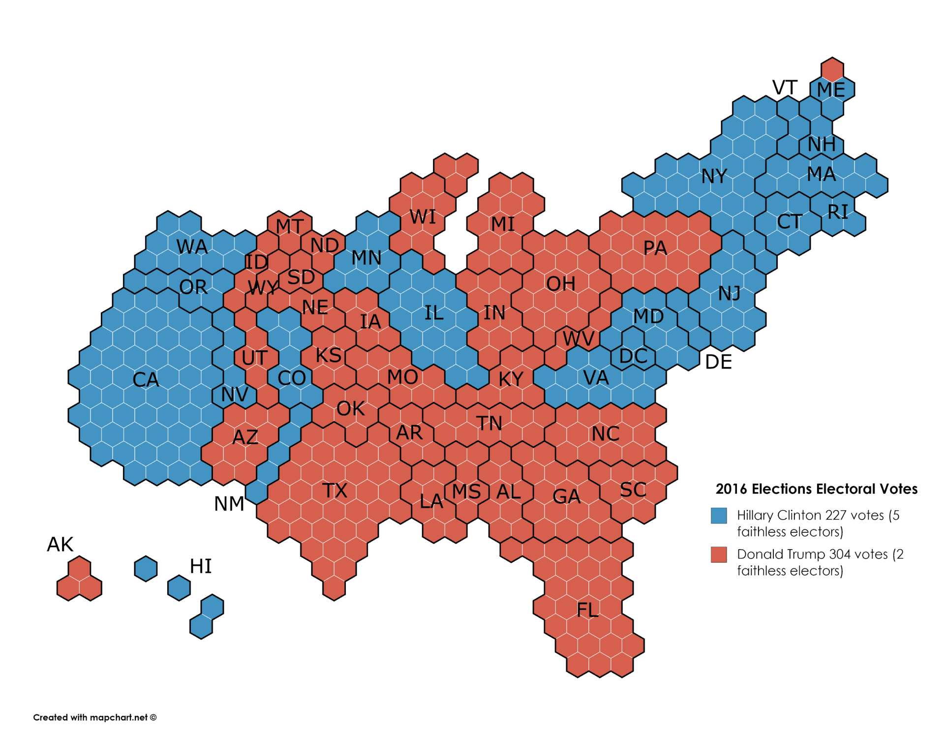 elections 2016 electoral votes map cartogram
