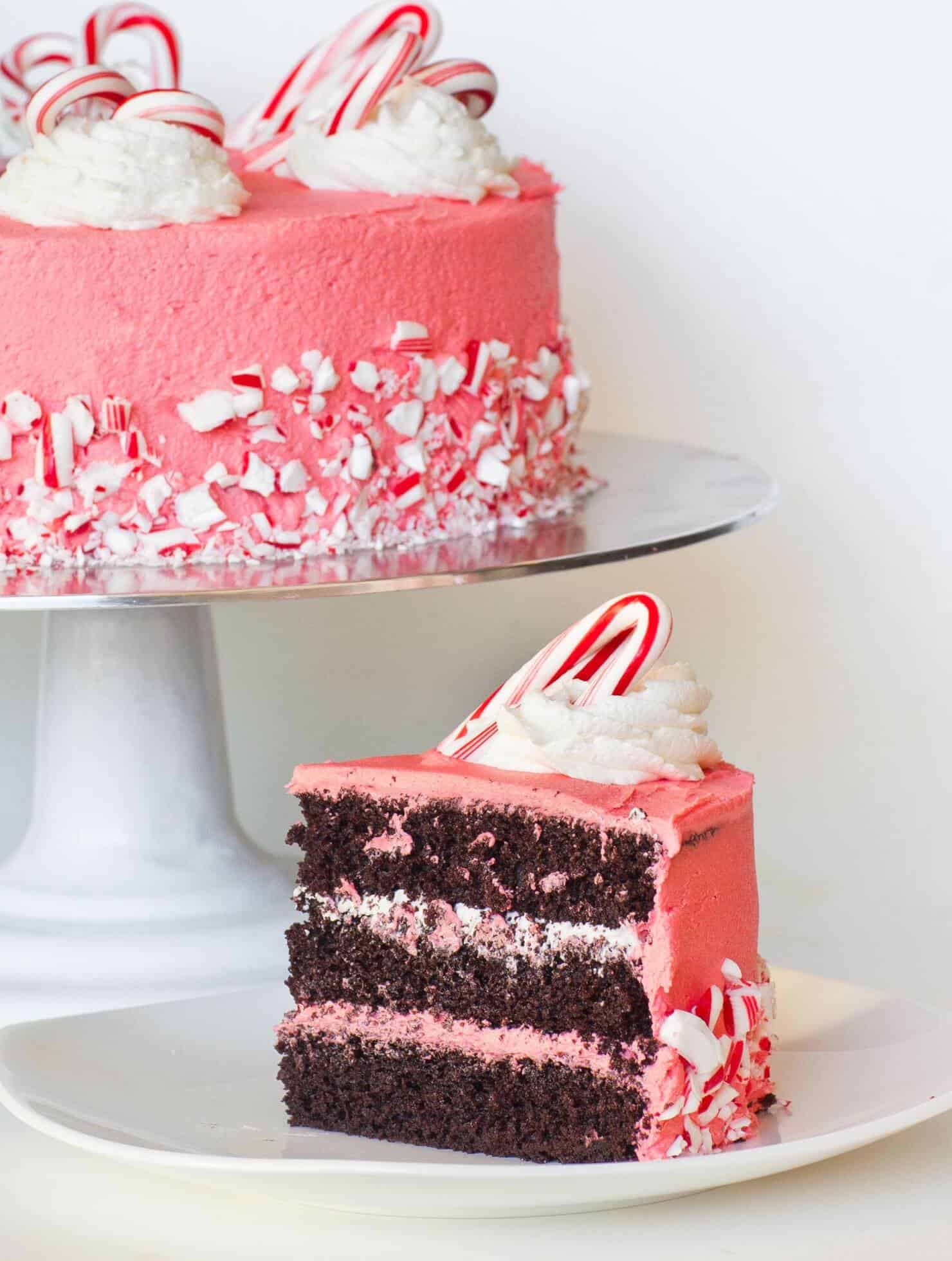 chocolate peppermint cake with crushed candy canes