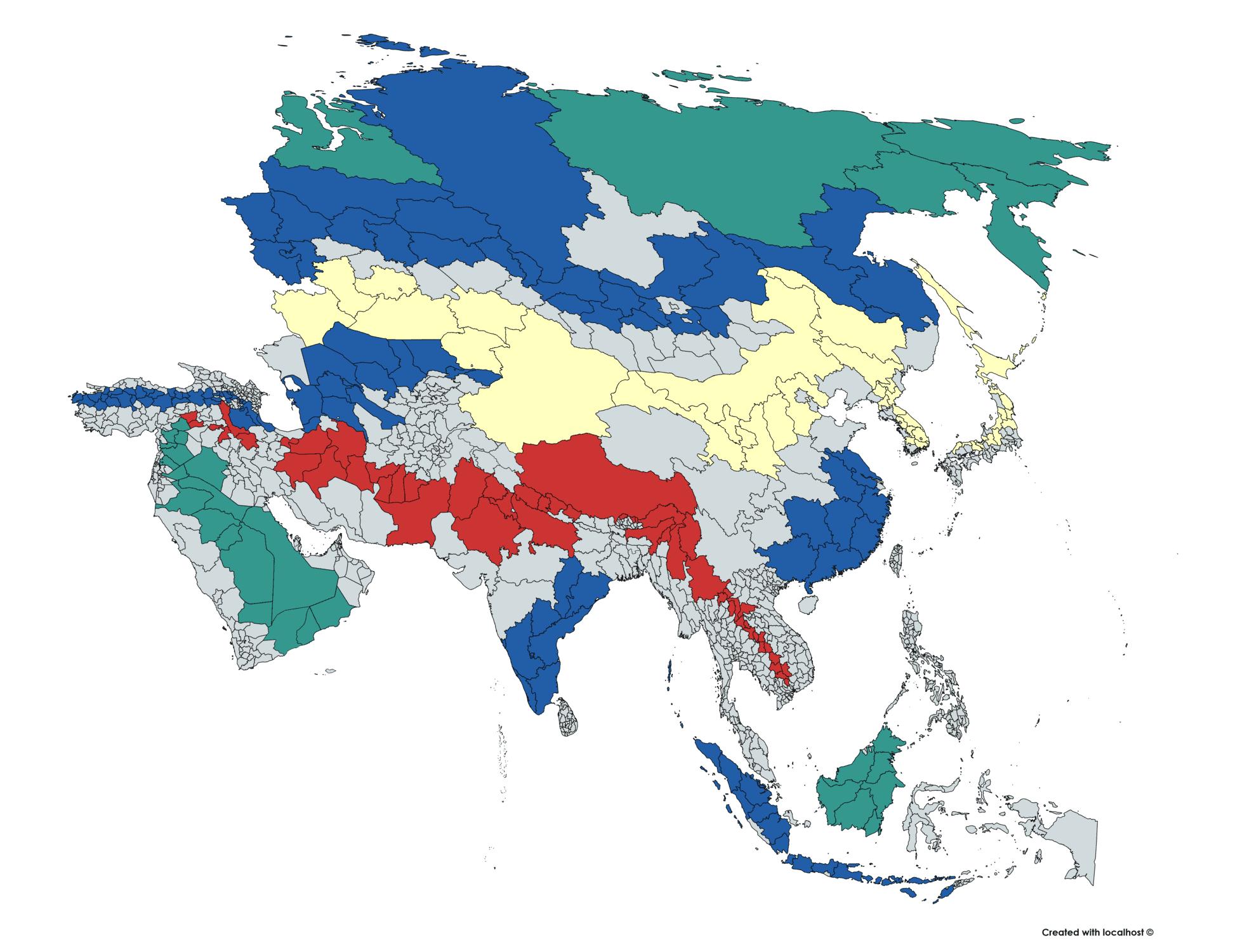 asia subdivisions map