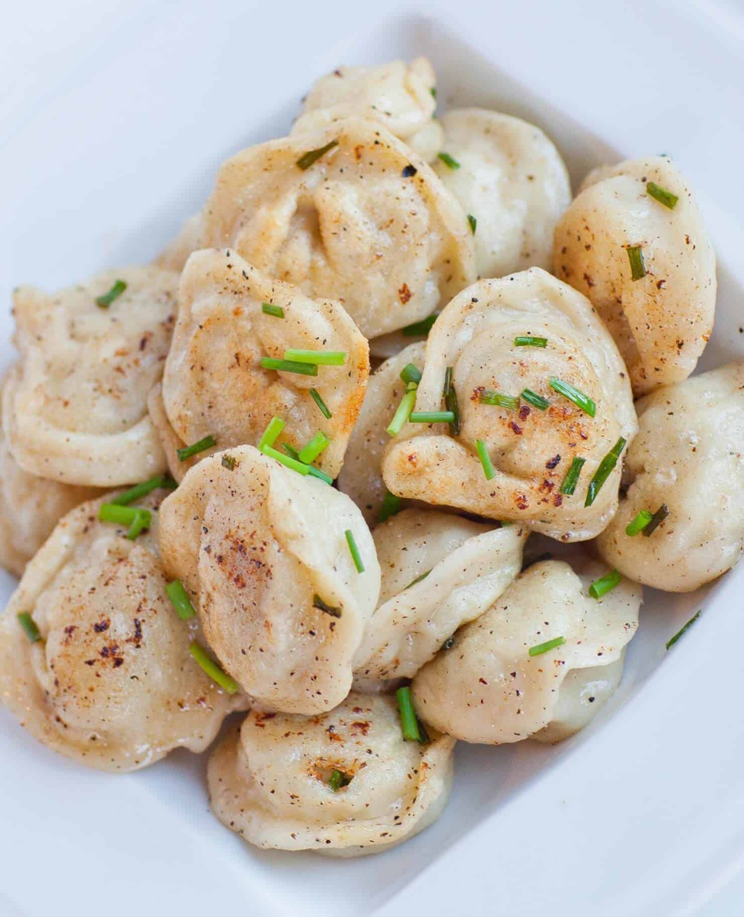 russian pelmeni with chives