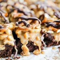 Salted Caramel Pretzel & Peanut Dark Chocolate Brownies (For the Win!)