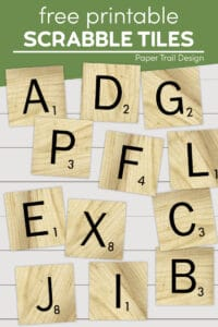 Assorted scrabble tile letters with text overlay- free printabel scrabble tiles
