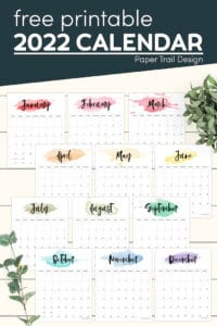 Rainbow watercolor calendar pages for 2022 with text overlay- free printable 2022 calendar