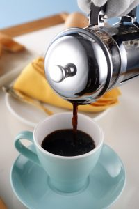 Enjoying coffee made in a french press
