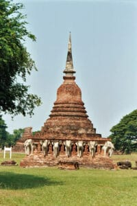 ancient stupa with elephants in Sukhothai