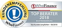 WhoFinance Top Berater Baufinanzierung 2018