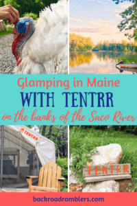 a collage of photos from a Tentrr camping trip in Maine. Caption reads: Glamping in Maine with Tentrr on the banks of the Saco River.
