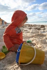 Baby on beach, playa pilar, playa pilar cuba, baby playa pilar, flying with an infant