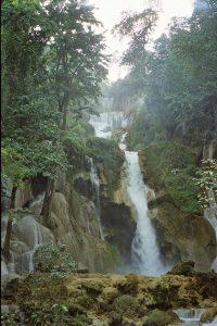 60 meter fall at Kuang Si waterfalls