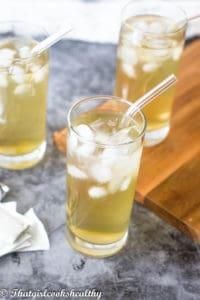 Three whole glasses of Iced cerasee tea