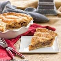 Classic Apple Pie slice on a square white plate