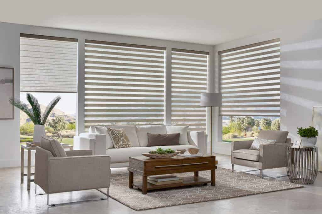 Dual sheer shades installed in casual living room
