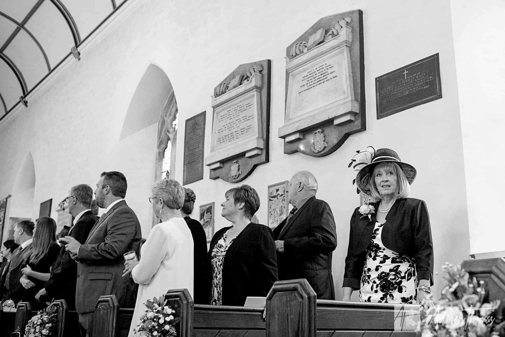 Brides mother inside church.