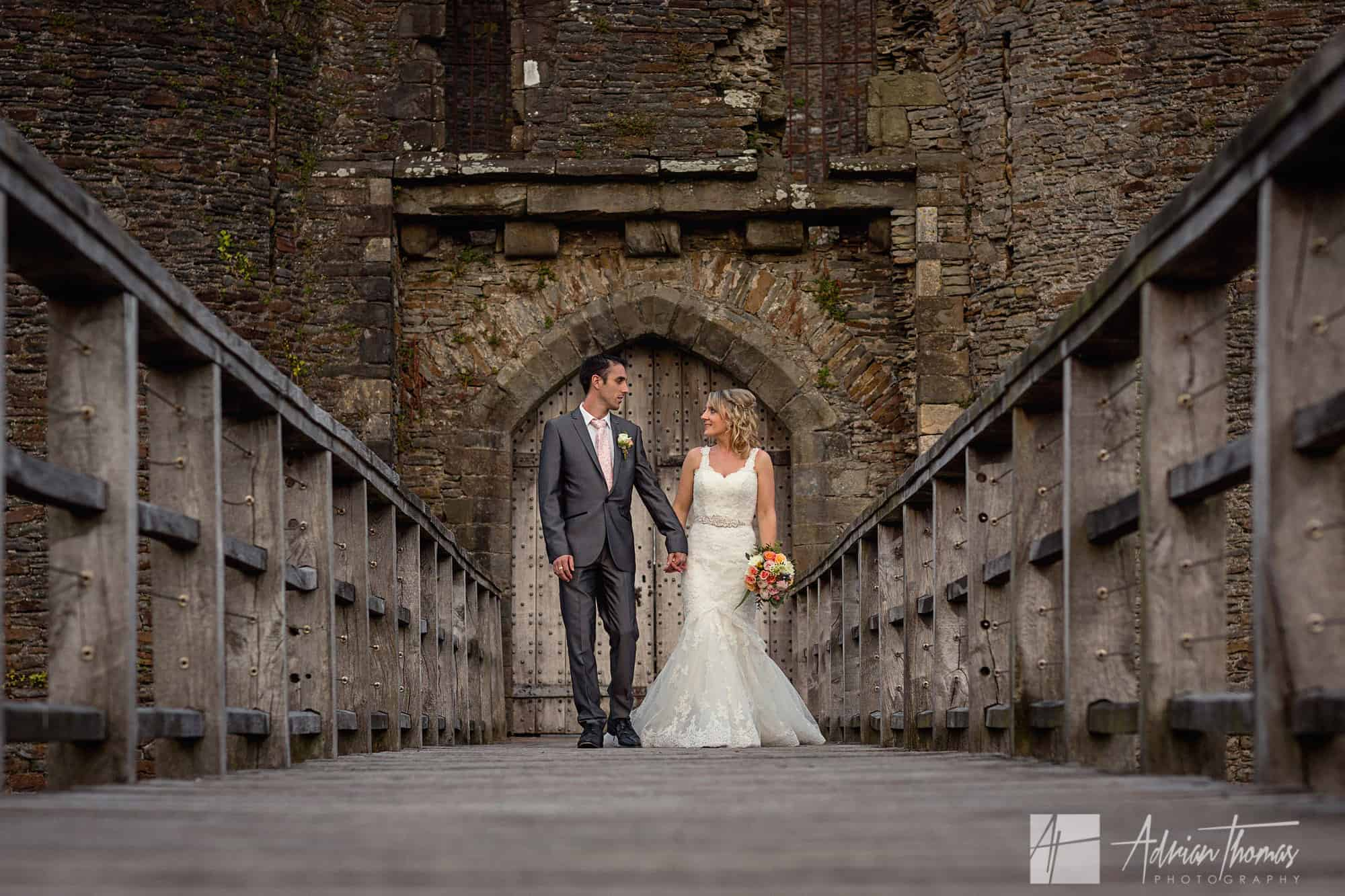 Bride and groom portrait at Caerphilly Castle Wedding