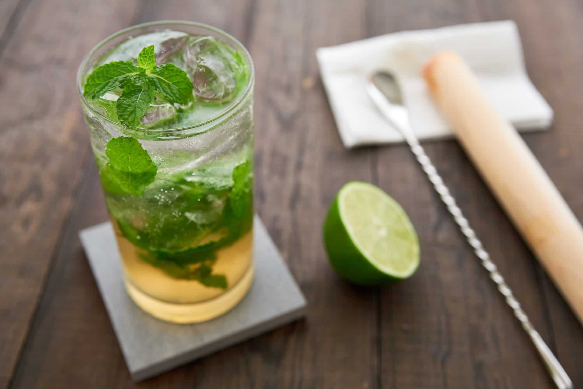 Using brown sugar shochu instead of rum, this updated take on the Cuban classic mojito is delicious.