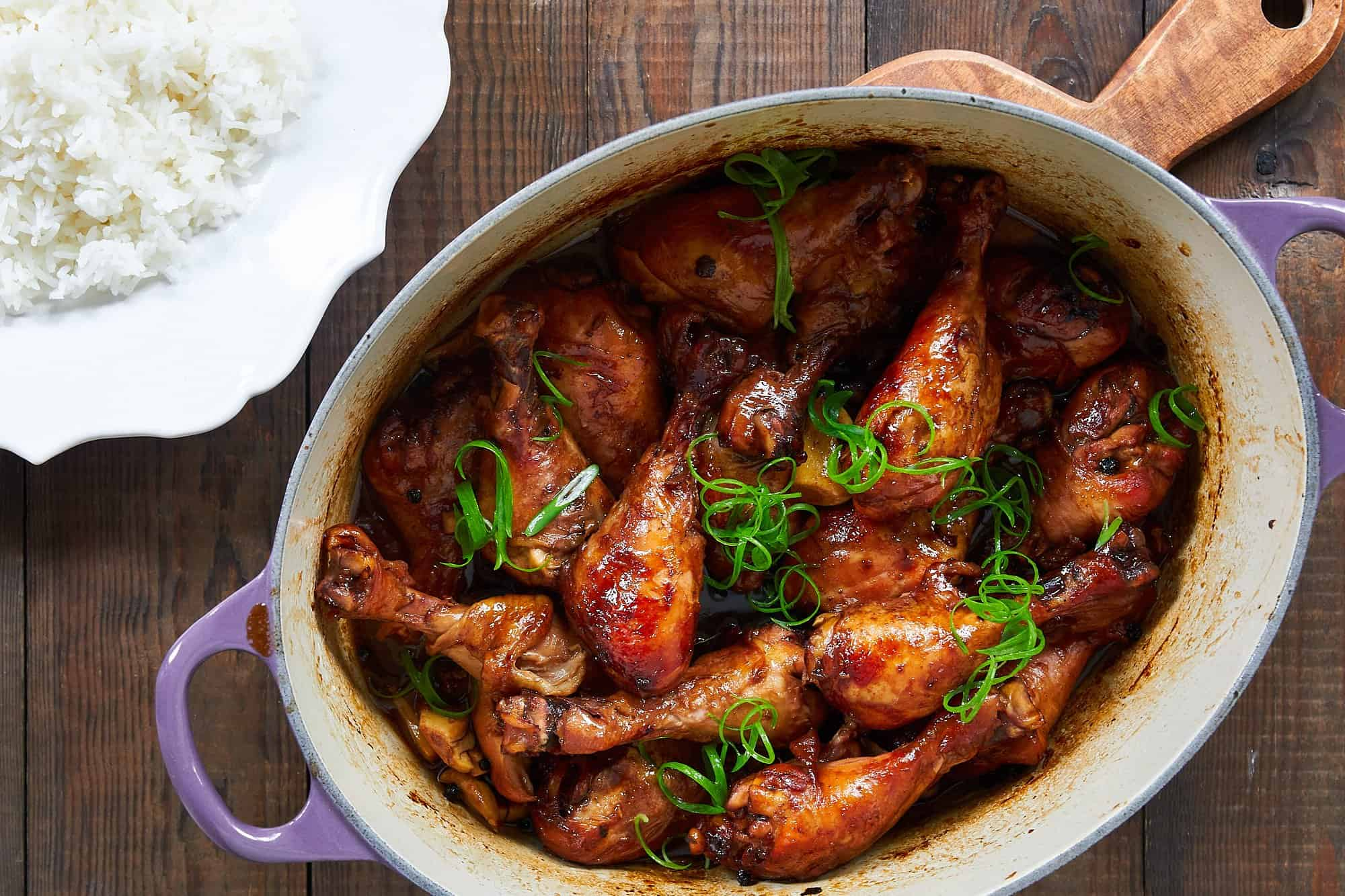 This chicken adobo is fall-off-the-bone tender with a rich, tangy and savory sauce.