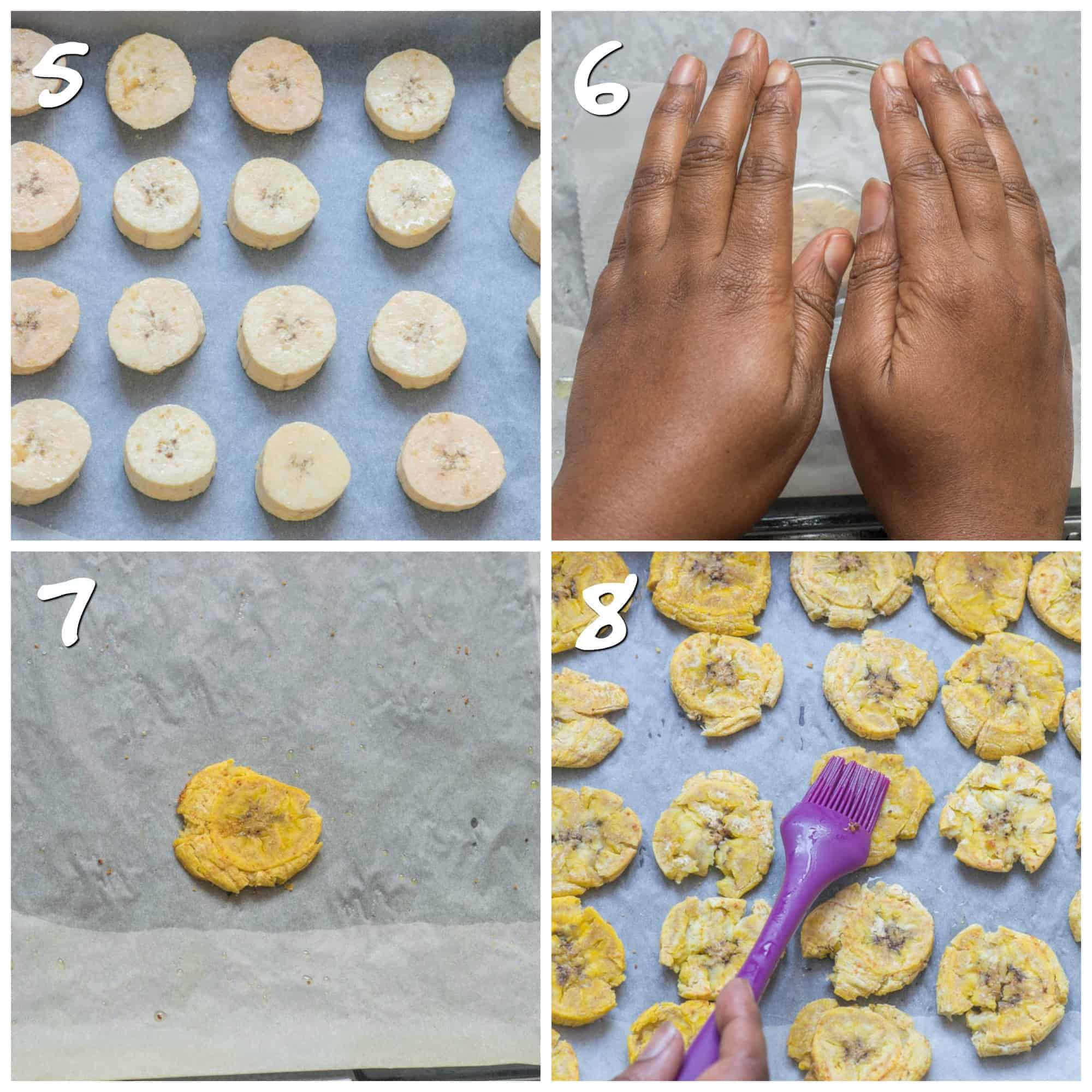 steps 5-8 baking the tostones
