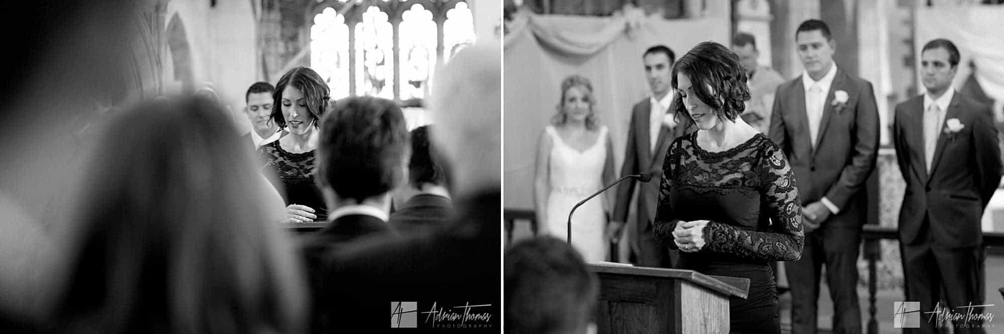 Speech during wedding service.