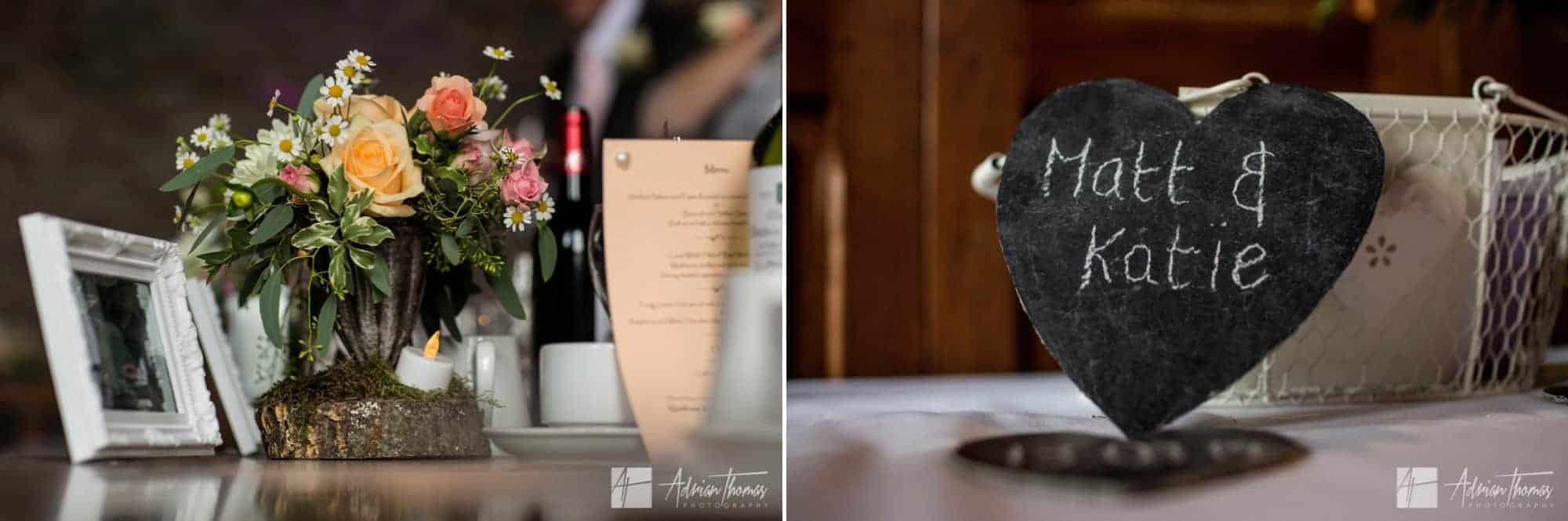 Wedding reception decorations.