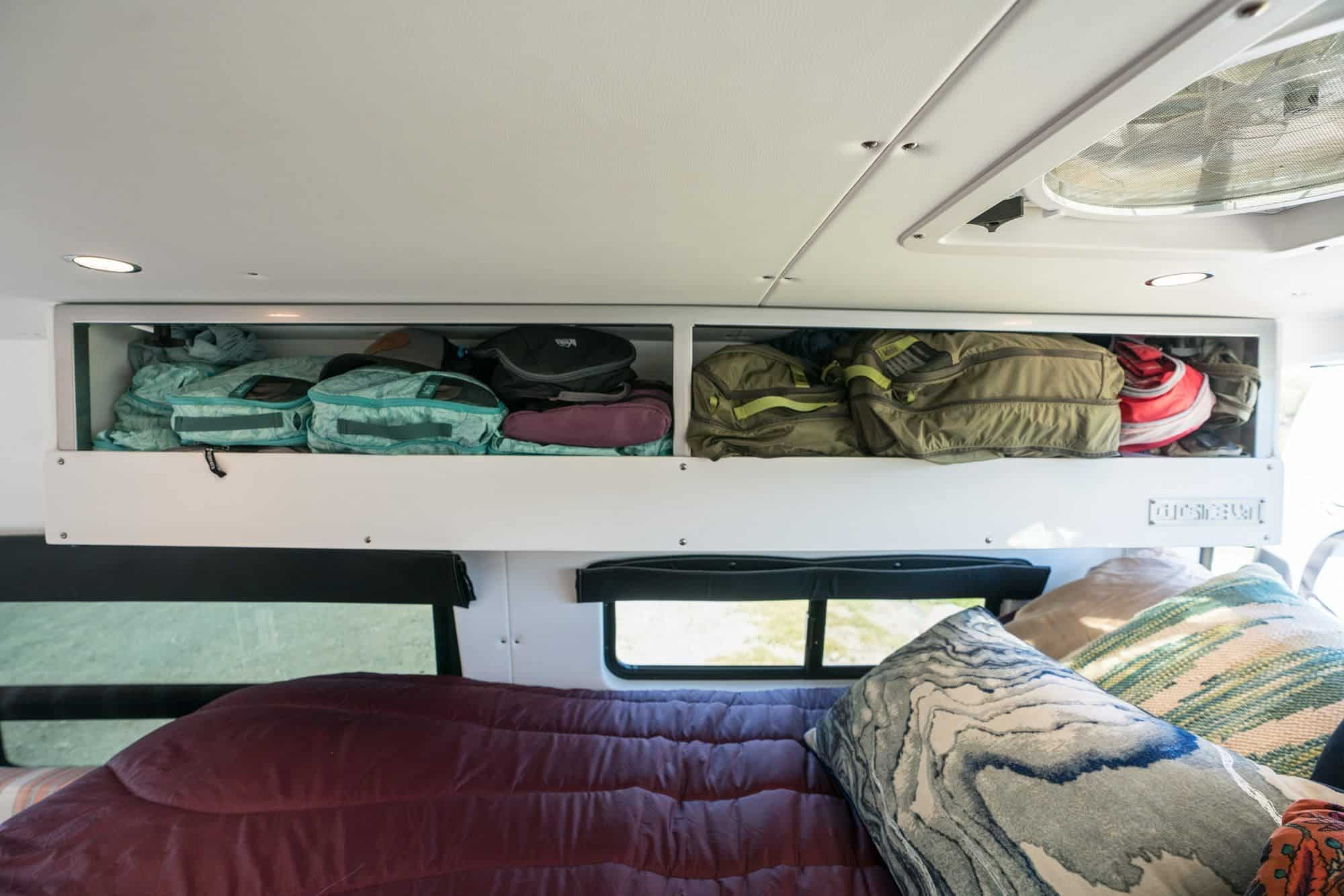 Packing cube Clothing storage in a Sprinter Van