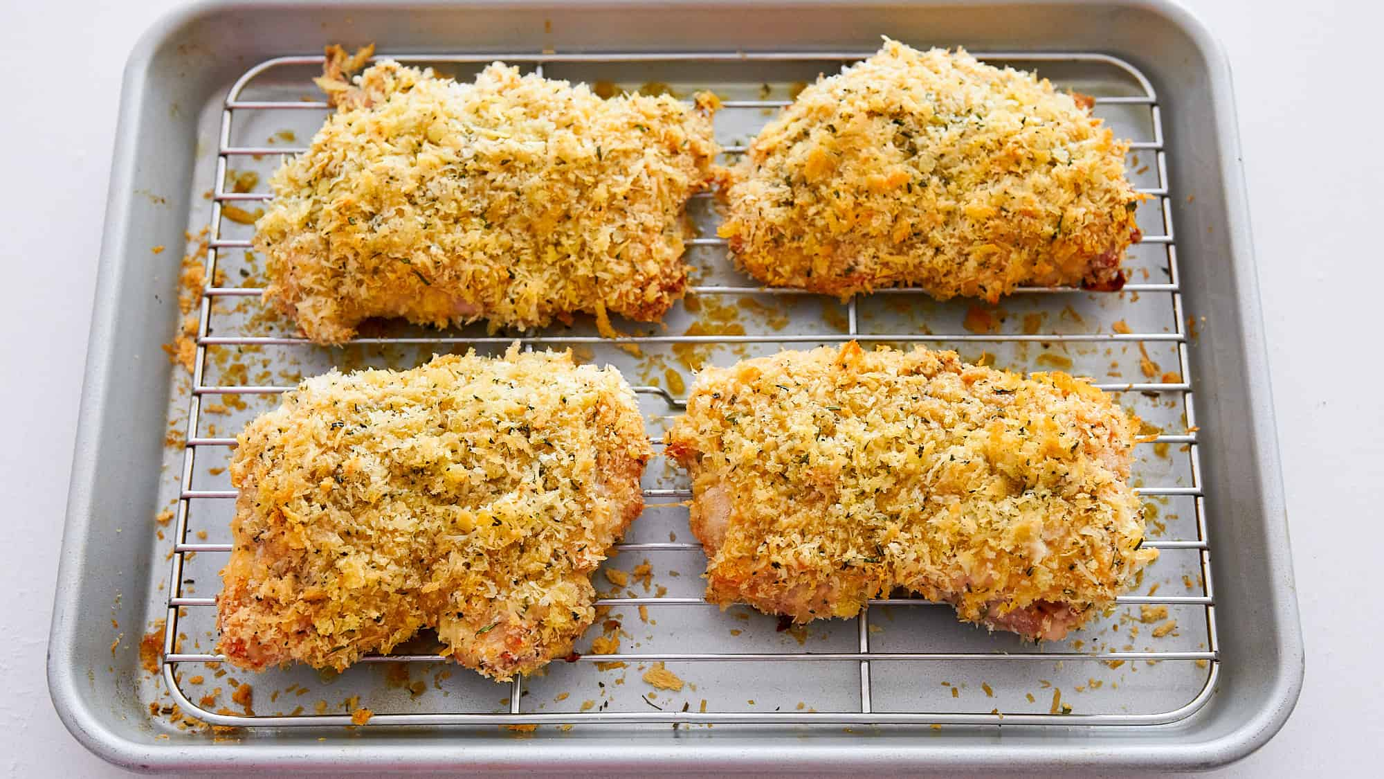 The baked chicken parmesan cutlets turn out crisp and flavorful.