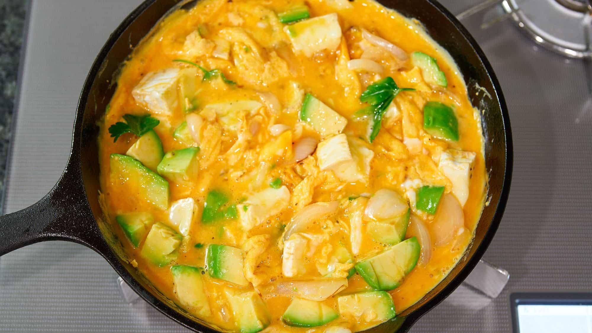 Avocado camembert and caramelized onion frittata recipe