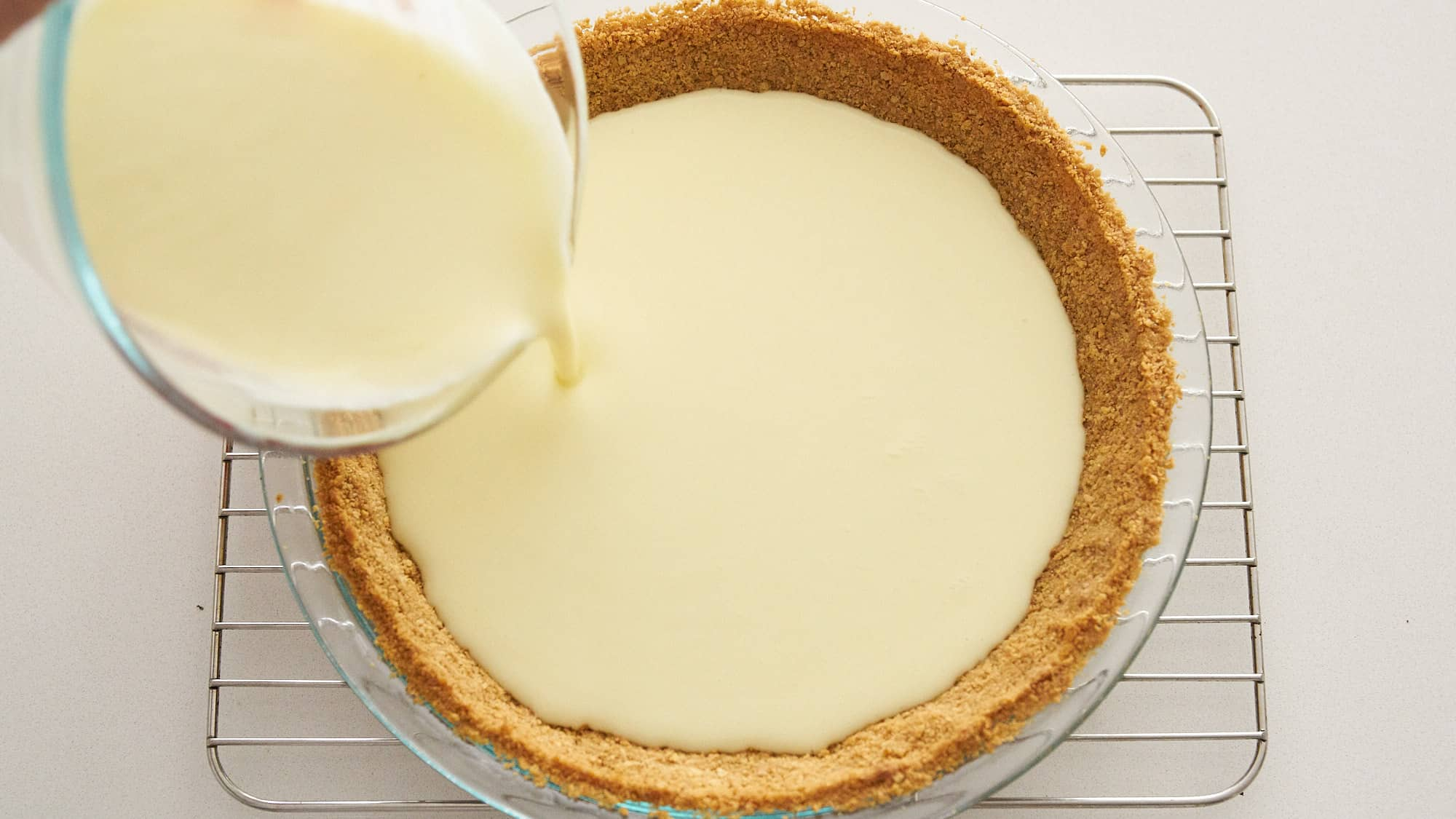 Filling the Key Lime Pie.