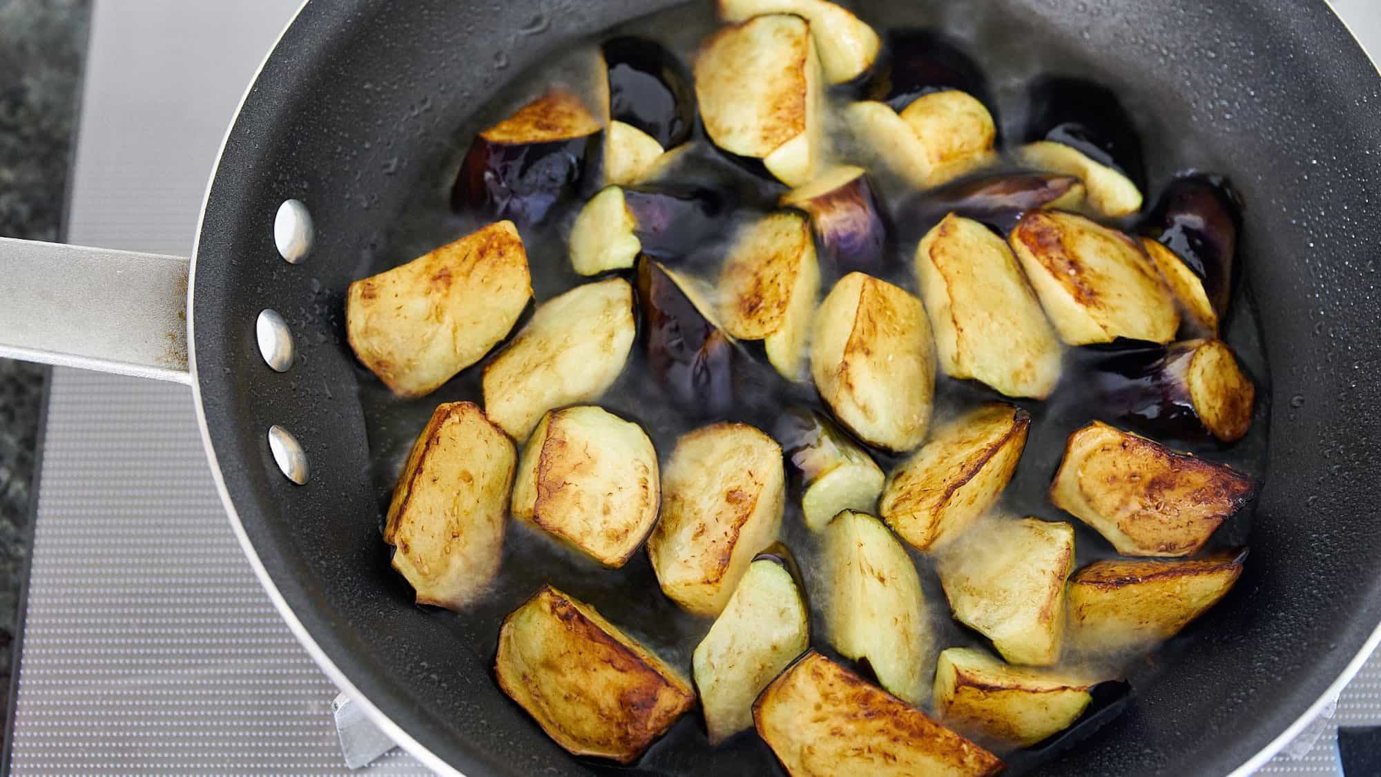 Shallow frying the eggplant for the Caponata in olive oil ensures they're both flavorful and tender.