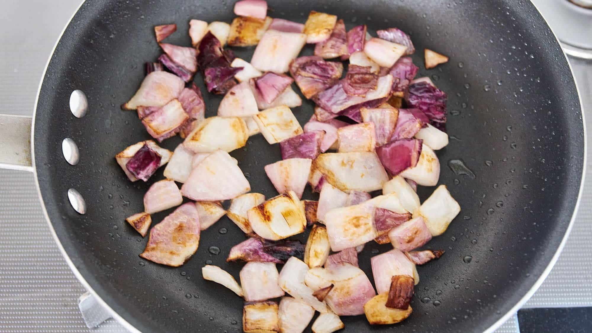 Caramelizing the onions gives our Caponata a sweet burst of umami.