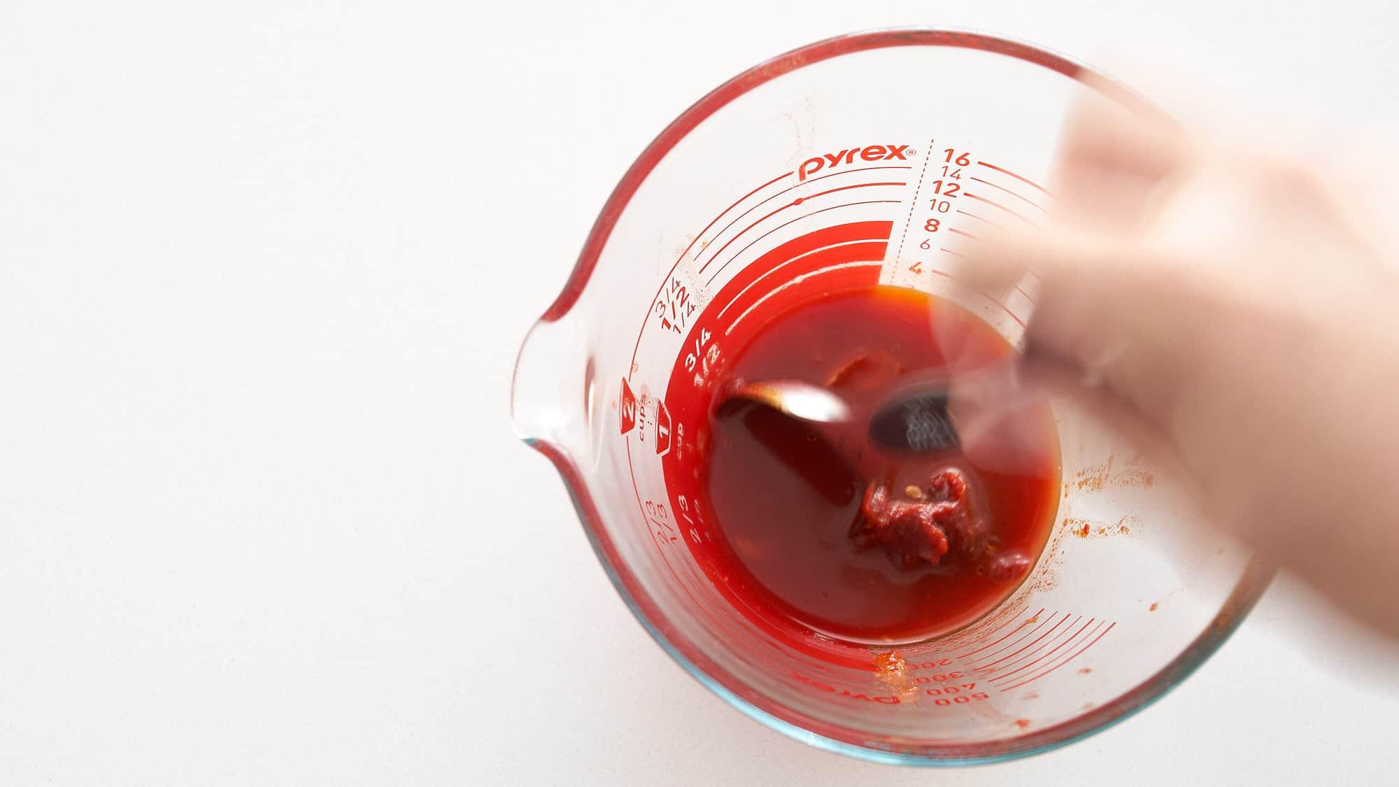 Kimchi pasta sauce is just gochujang mixed with kimchi juice.