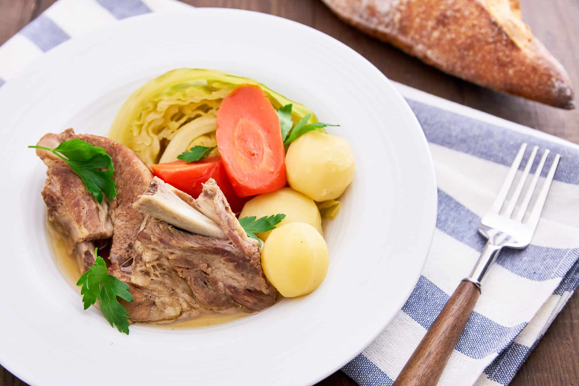 Curing the spareribs for a few days in a simple dry brine makes this Pot au Feu recipe ridiculously flavorful.