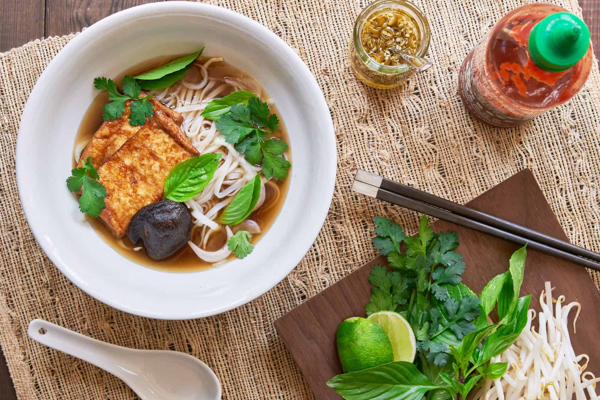 This vegan plant-based pho is so simple and yet the umami-packed mushroom broth is loaded with all the trademark flavors of traditional pho.