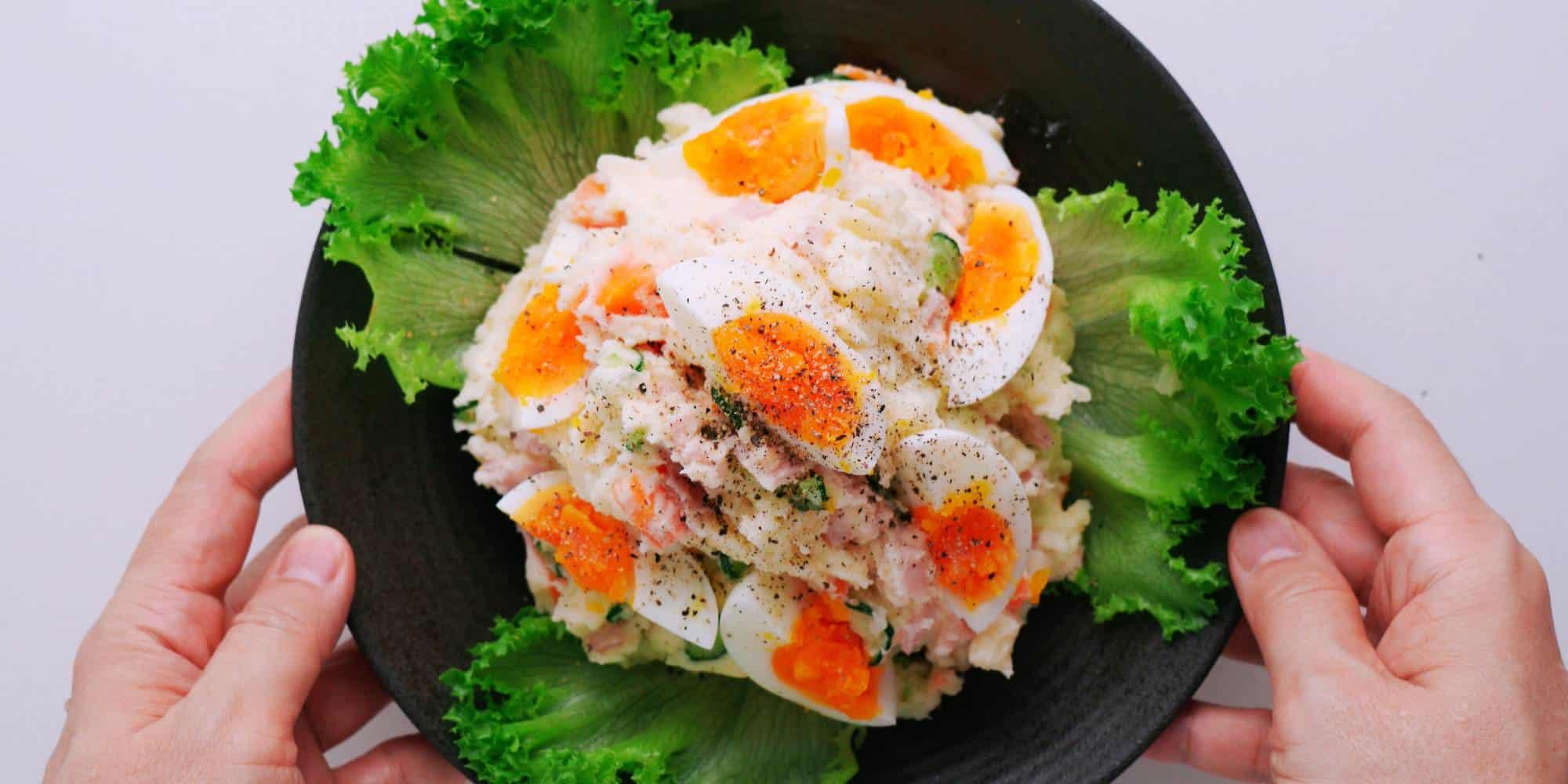 Japanese potato salad garnished with eggs.