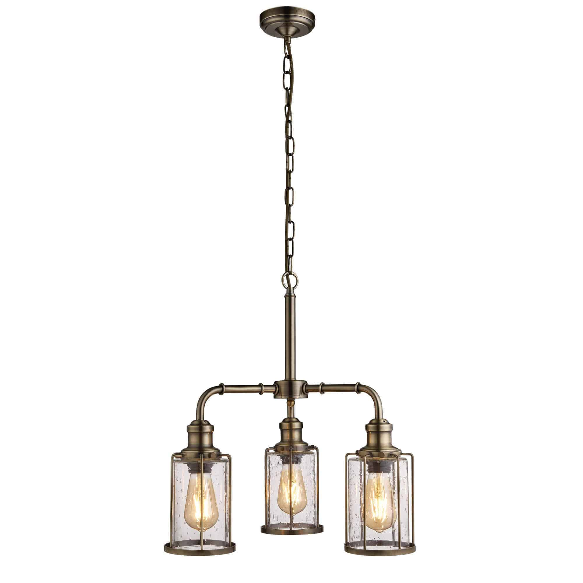 1163-3AB – Searchlight Pipes 3 Light Pendant Antique Brass With Seeded Glass