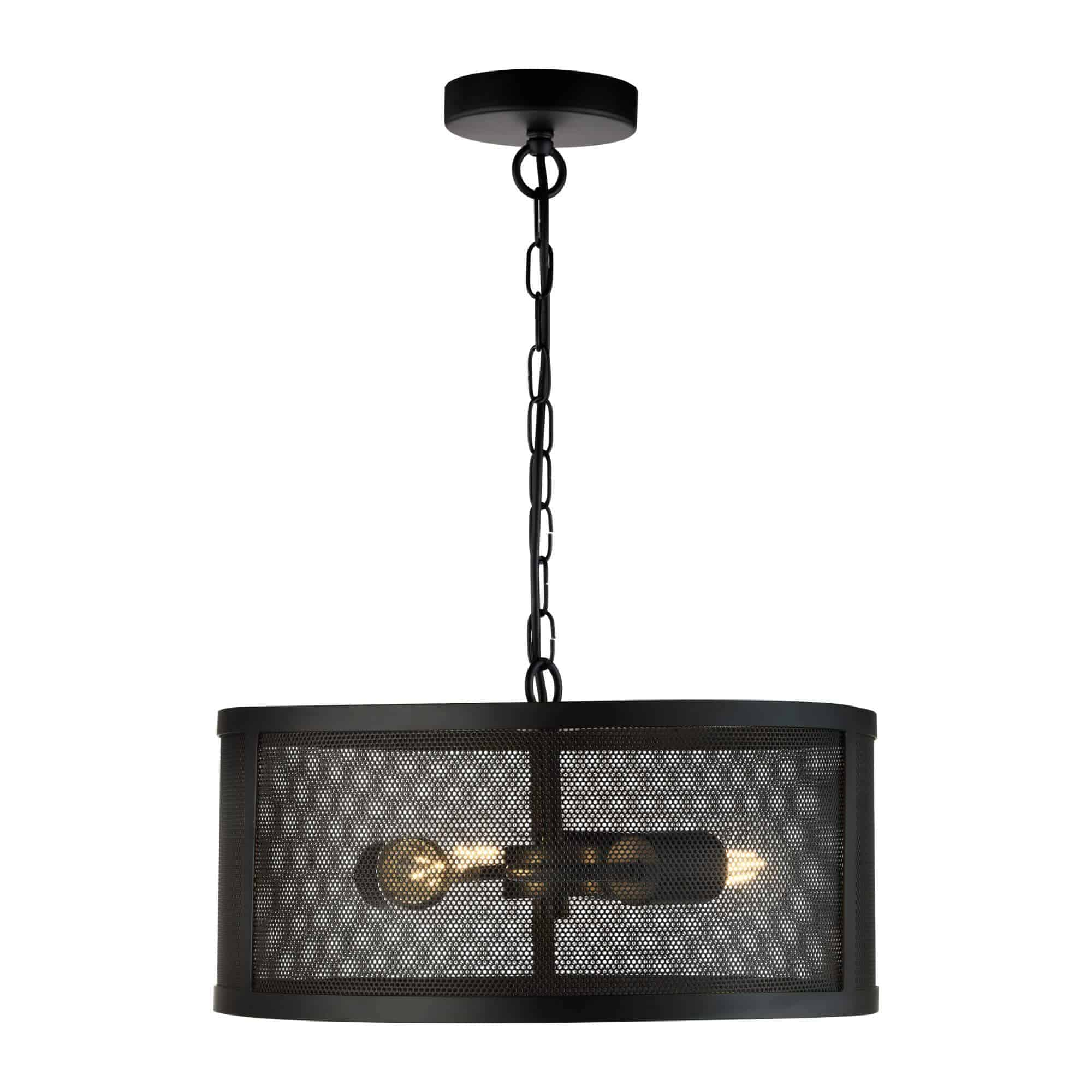 12483-3BK – Searchlight Fishnet 3 Light Drum Pendant Matt Black