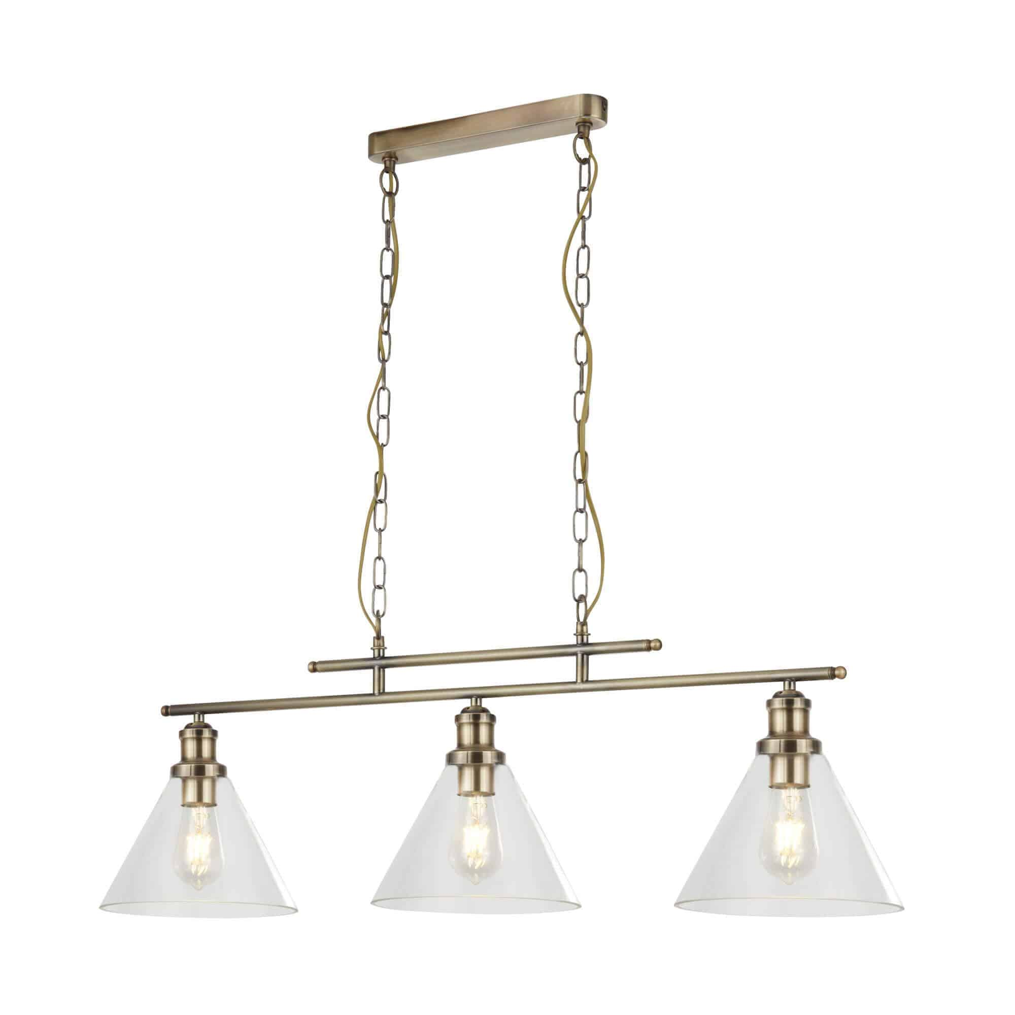 1277-3AB – Searchlight Pyramid 3 Light Pendant Antique Brass with Clear Glass Shade