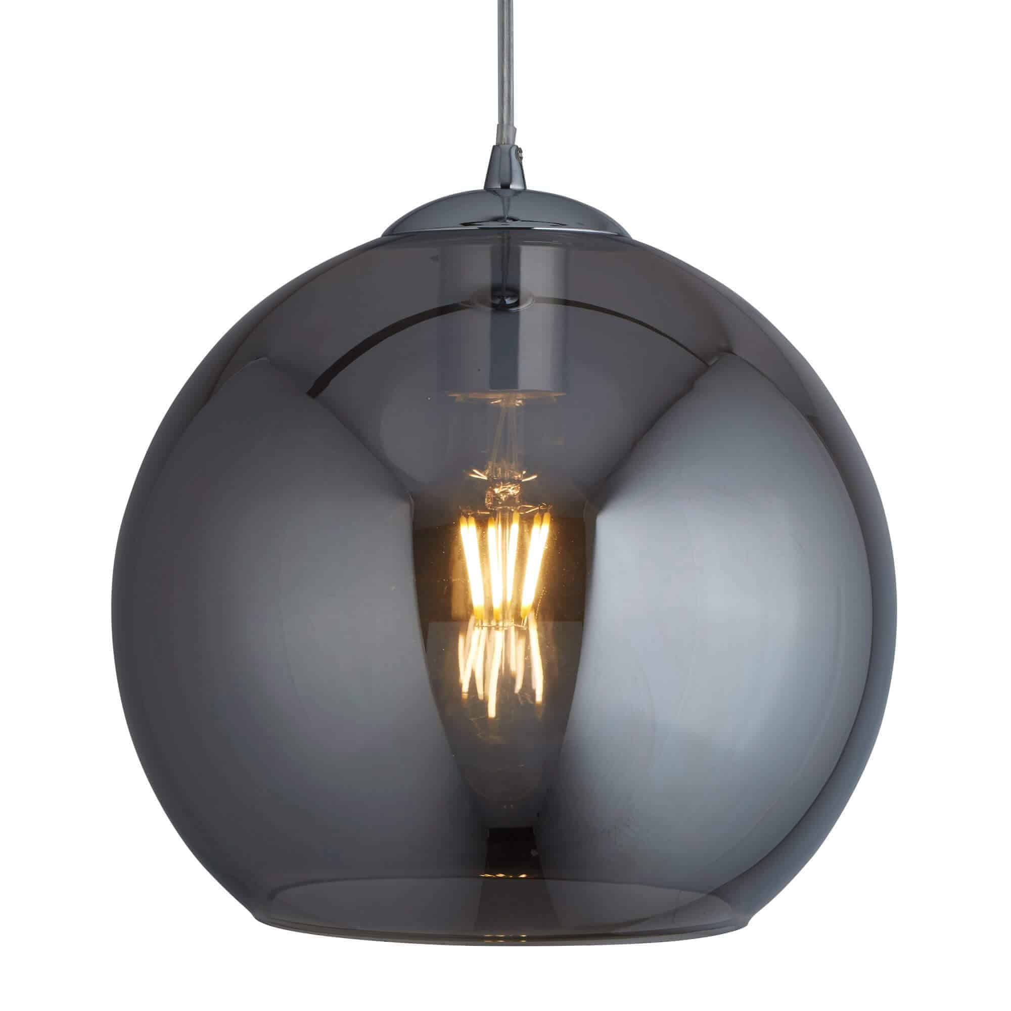1621SM – Searchlight Balls Smoked 1 Light Round Pendant (25cm Dia)