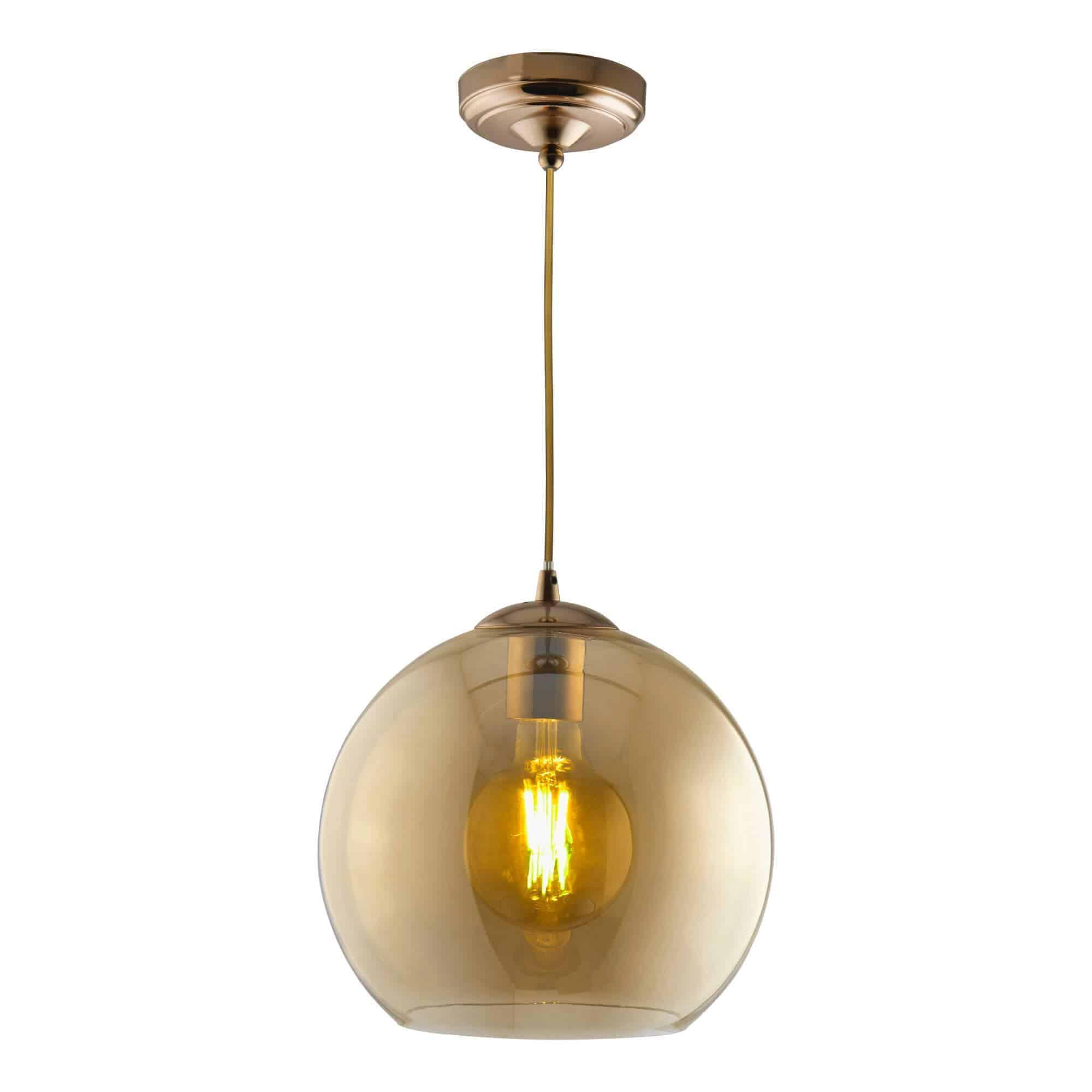 1632AM – Searchlight Balls Amber 1 Light Round Pendant (30Cm Dia)