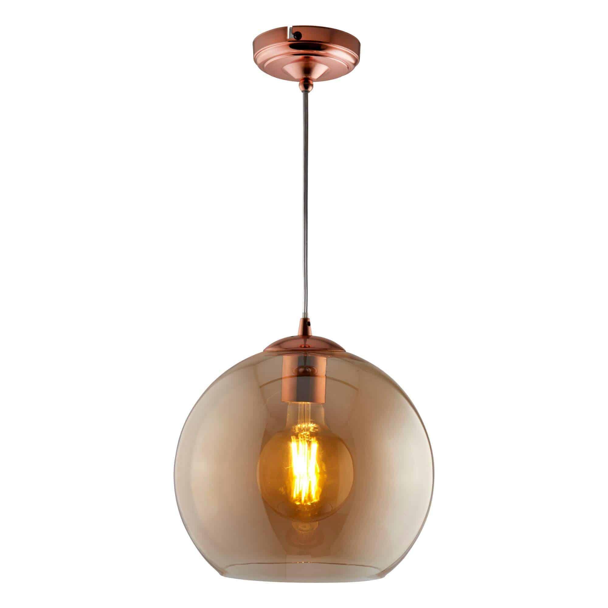 1635AM – Searchlight Balls Amber 1 Light Round Pendant (35Cm Dia)