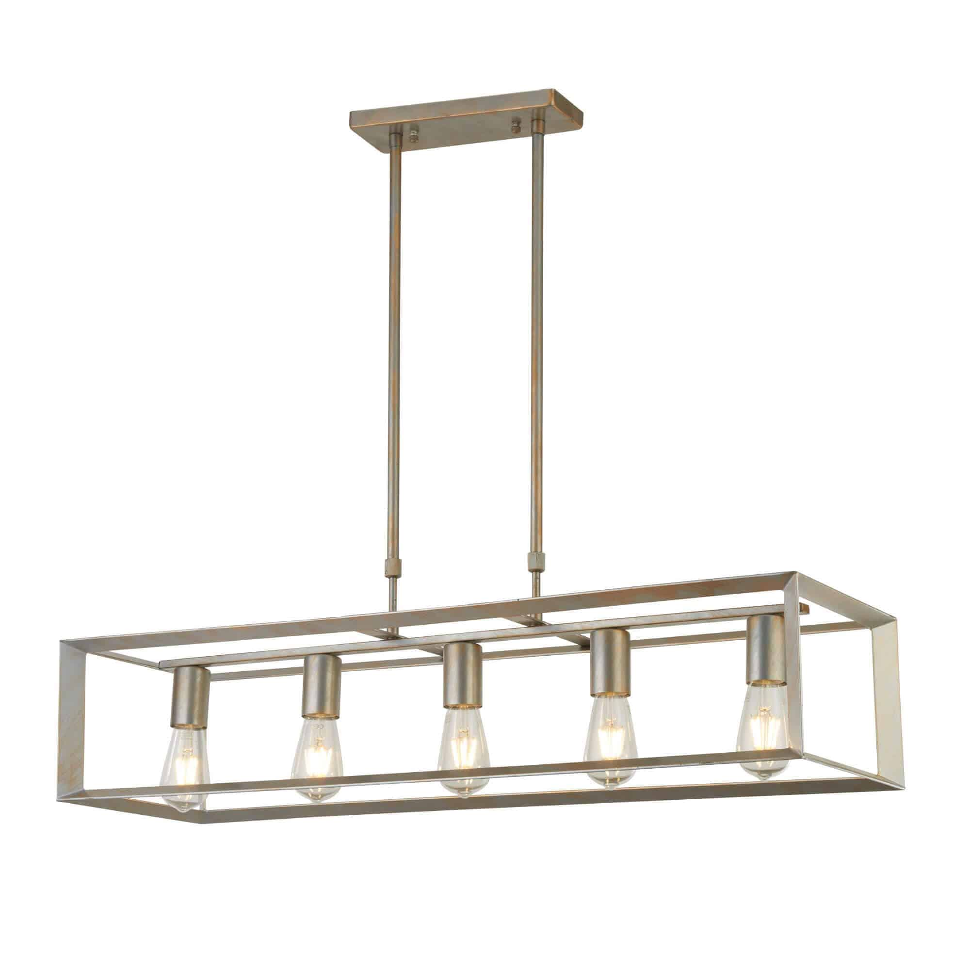 2415-5SI – Searchlight Heaton Brushed Silver 5 Light Oblong Pendant