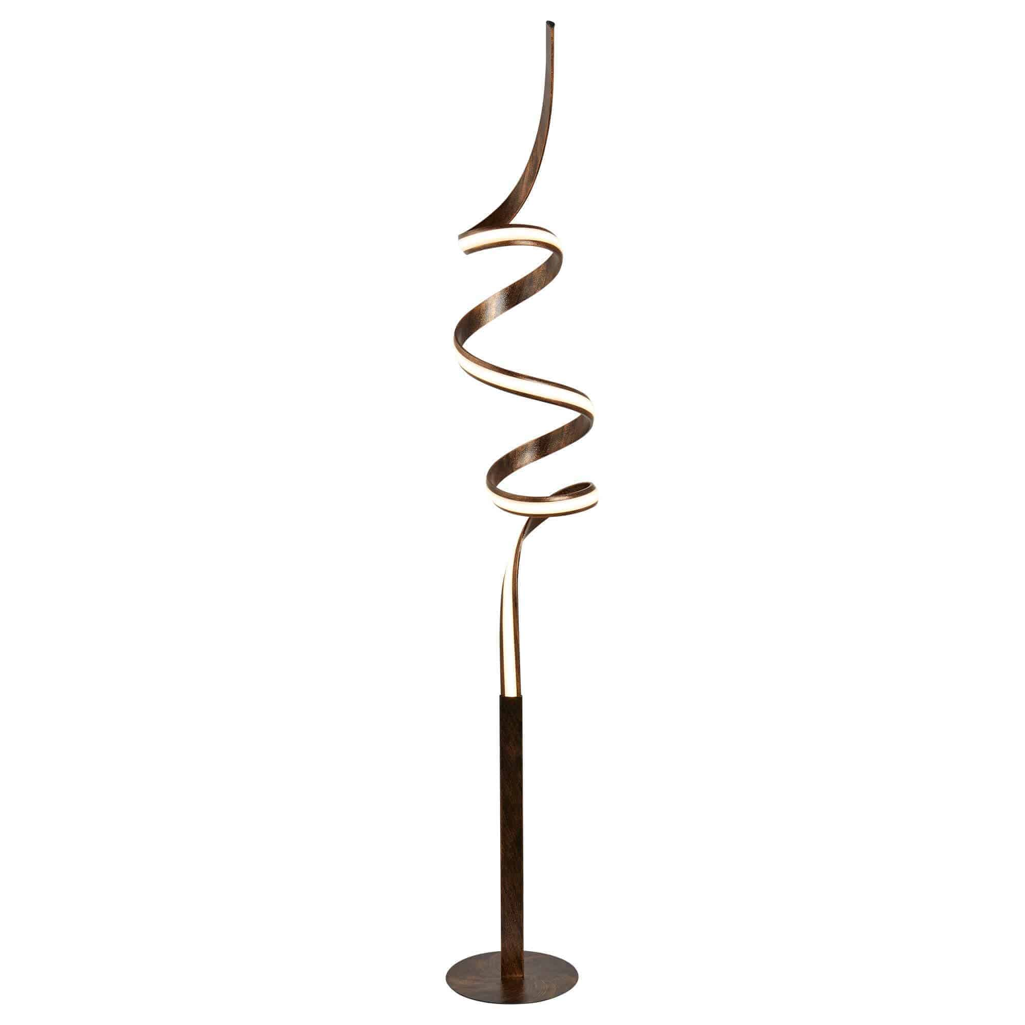 2813RU – Searchlight Ribbon Rustic Black & Gold LED Twist Floor Lamp