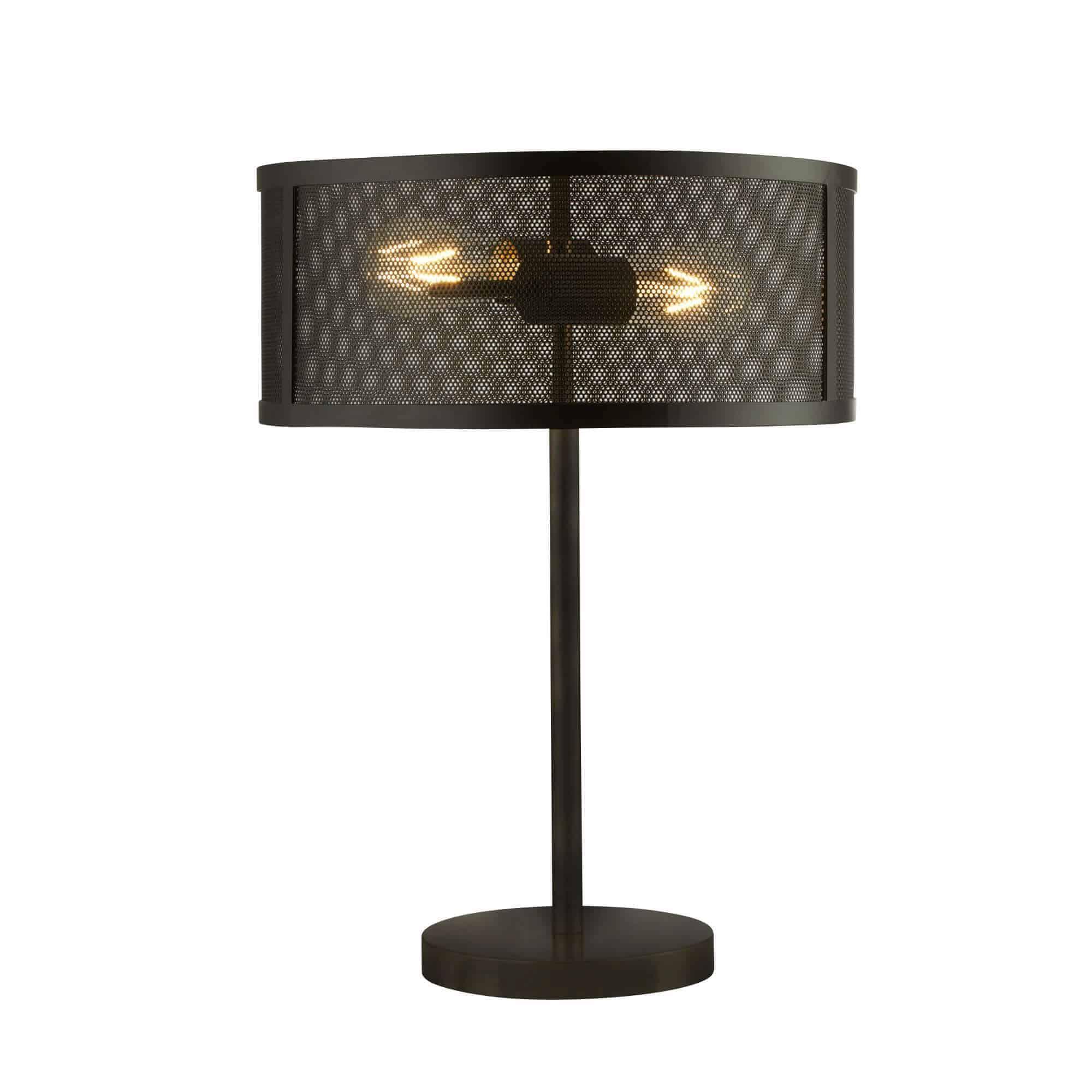 2822-2BK – Searchlight Fishnet Matt Black 2 Light Table Lamp