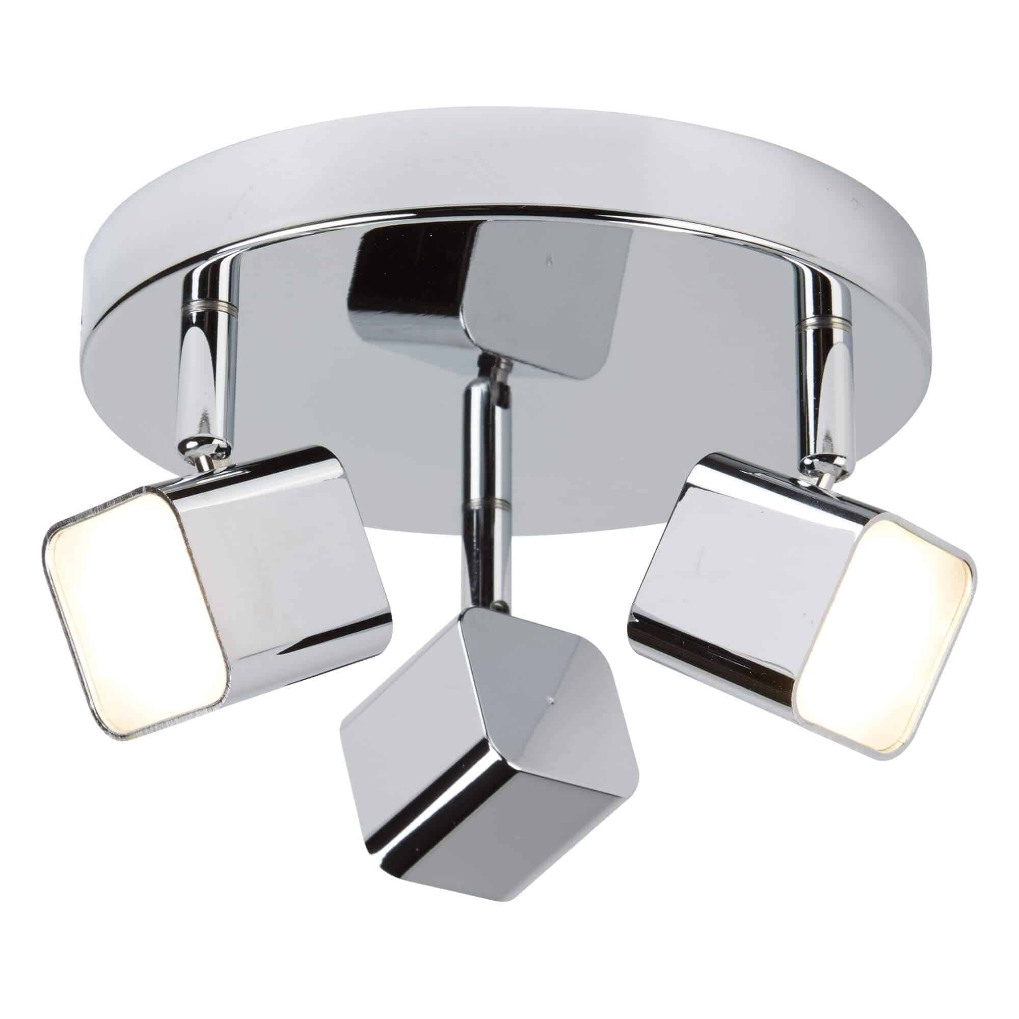 4233CC – Searchlight Quad (Dim) 3 Light LED Polished Chrome Square Head Spot Plate