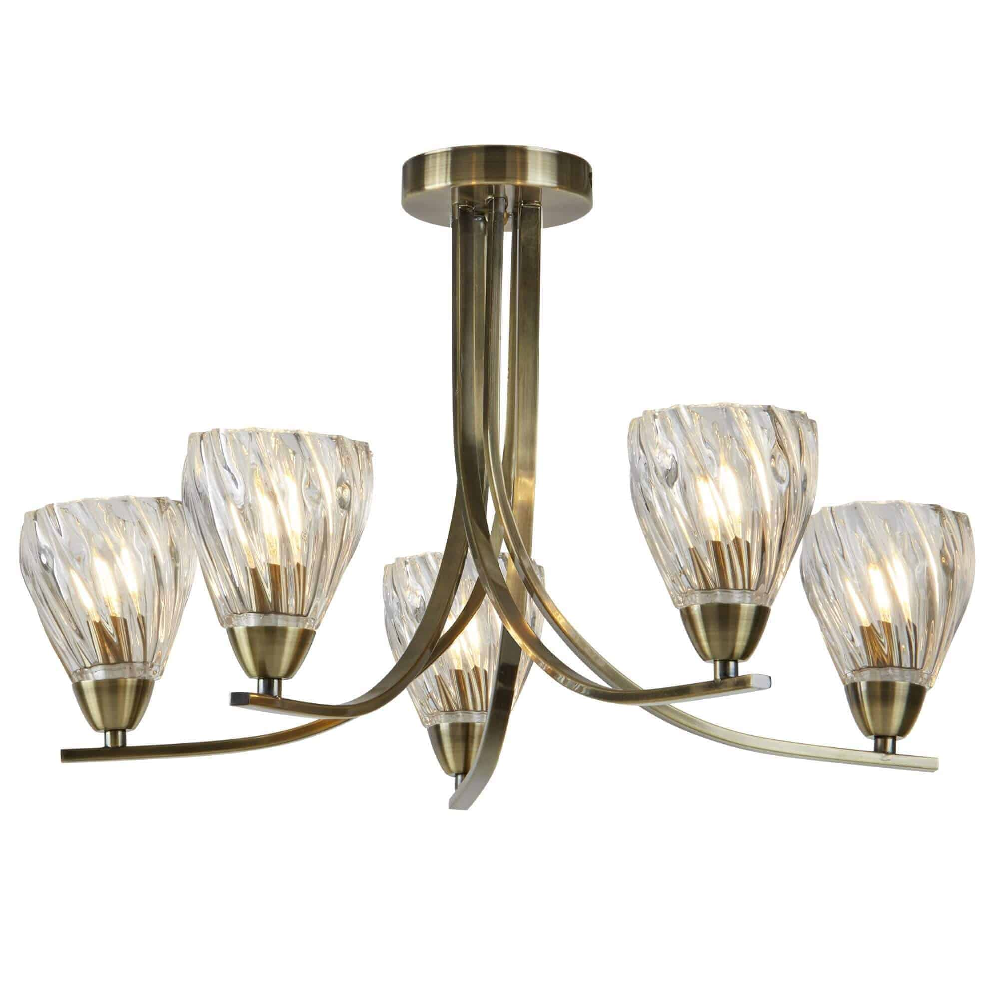 4275-5AB – Searchlight Ascona ii Antique Brass 5 Light Ceiling Semi-Flush
