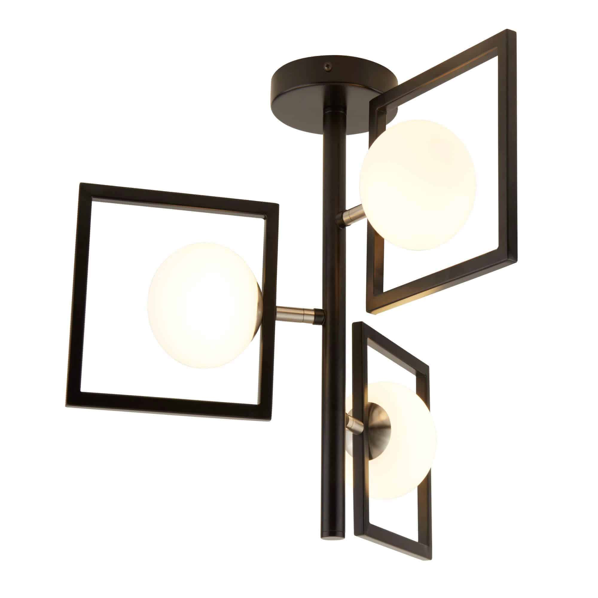 4833-3BK – Searchlight Rosewell Matt Black 3 Light Pendant